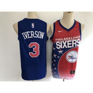 Philadelphia 76ers Allen Iverson Blue Red Jersey